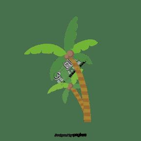 棕櫚樹卡通可愛創意矢量元素