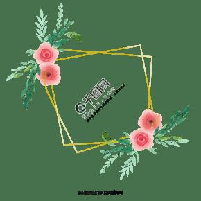 金色几何边框水彩花朵元素