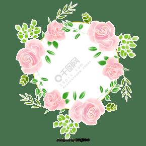 手绘水彩描边清新玫瑰边框