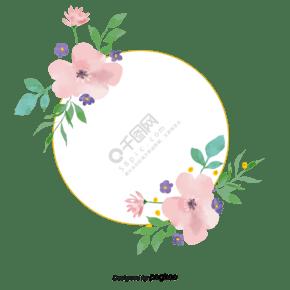 手绘水彩清新花朵边框