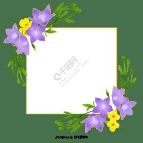 手绘水彩桔梗花边框