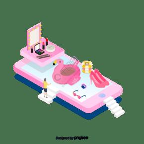 粉色立体手机购物商品元素