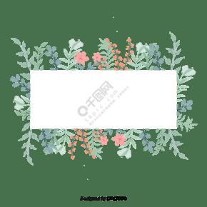 手绘水彩植物花边边框