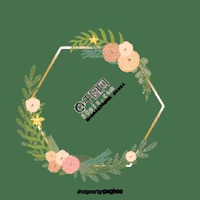 手绘清新花卉几何边框元素
