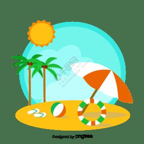 卡通清新海邊沙灘元素