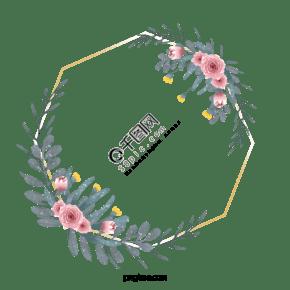 手绘水彩蔷薇花卉几何边框元素