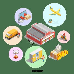 工廠快遞物流運輸方式元素