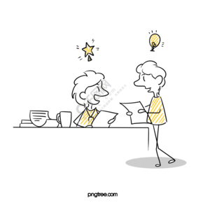 双人淡黄色手绘营销战略简笔画