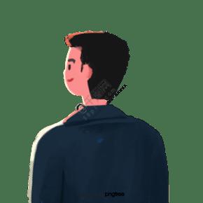 卡通微笑的男生背影
