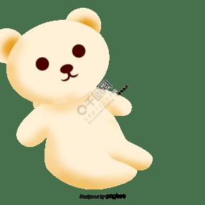 卡通淡黄色的小熊毛绒玩具