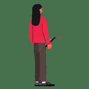 卡通红色上衣的长发女性背影