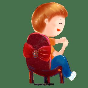 卡通坐在椅子上的男孩