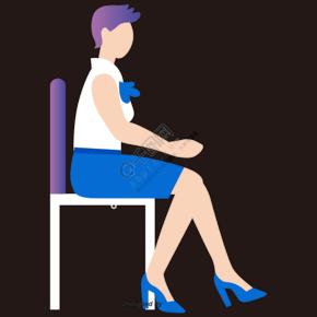 坐在椅子上的上班女性