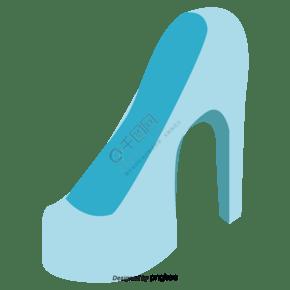 矢量淡蓝色高跟鞋