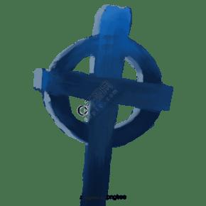 藍色萬圣節船舵樣式石碑