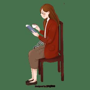 坐在椅子上閱讀的女性