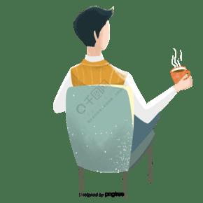 喝咖啡男性的背影