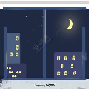城市窗外的夜景