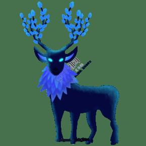 蓝色森林中发光的鹿
