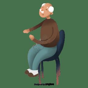 卡通坐在椅子上的老爺爺