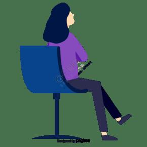 卡通坐著的女性