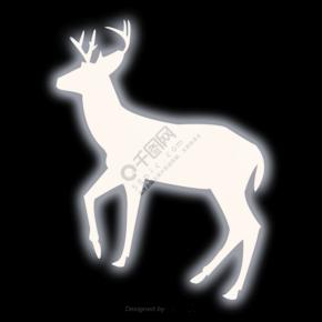 白色发光的麋鹿剪影
