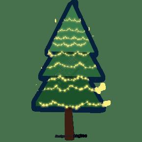 卡通发光的圣诞树