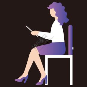 坐在椅子上看書的女性