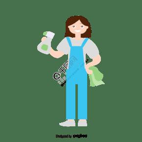 卡通打掃衛生的卡通女孩