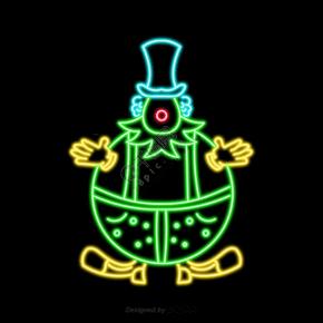 卡通绿色发光线描小丑