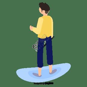 卡通黄色上衣的卡通男孩背影