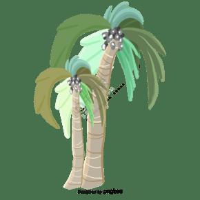 卡通熱帶植物椰子樹