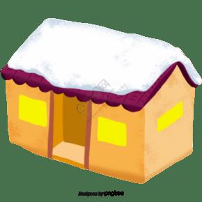 卡通冬季积雪的屋子