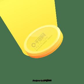 卡通黄色发光的金币装饰