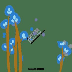 蓝色卡通的树