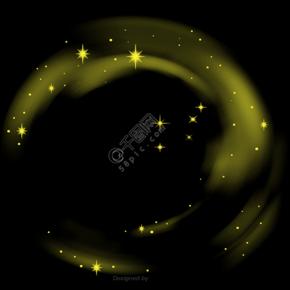 黄色的晕染发光星星