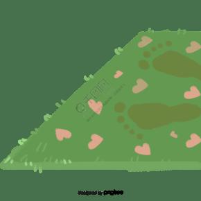 绿色带爱心装饰的卡通地毯