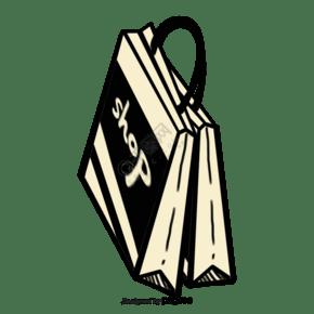 黑色的卡通購物袋