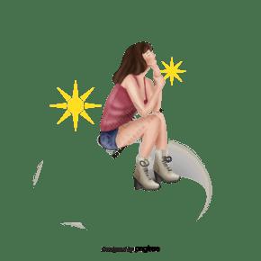 夏季太阳女孩坐着