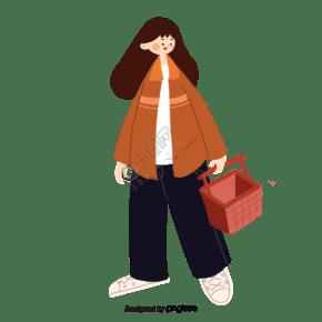 手繪風格女性購物購物籃