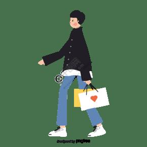 手繪風格男孩購物手提袋
