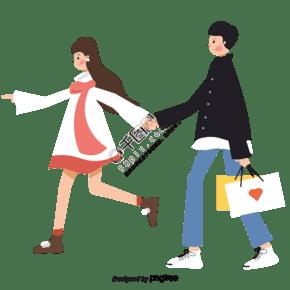 浪漫情侶牽手逛街購物