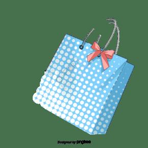 藍色波點蝴蝶結裝飾手提袋