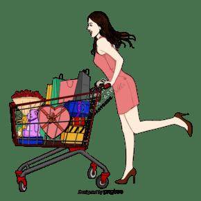 女性購物購物車