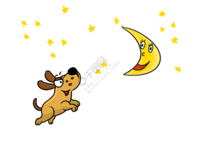 卡通狗狗奔月