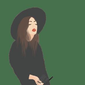 卡通手繪抽煙的女孩