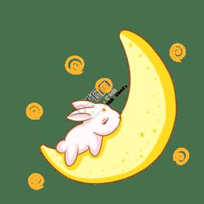 手绘玉兔月牙插画