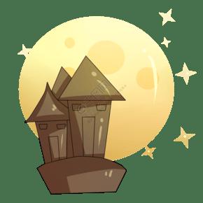 万圣节城堡月圆星星插画