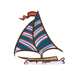 海洋轮船手绘卡通插画