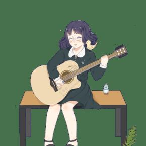彈吉他的少女手繪插畫